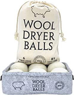 Wool Dryer Balls XL 6 Pack, Comes with Felt Container and Cotton Bag, Anti Static Organic Fabric Softener Substitute for Dryer Sheets, Speeds Up Dry Time to Cut Energy Costs, 100% New Zealand Wool