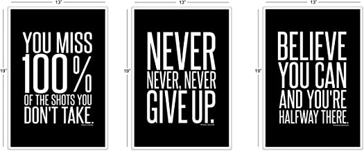 Motivational Inspirational Famous Quotes Teen Boy Girl Sports Wall Art Posters Decorative Prints Black White Workout Fitness Wall Decor Home Office Business Classroom Dorm Gym Entrepreneur (13 x 19)