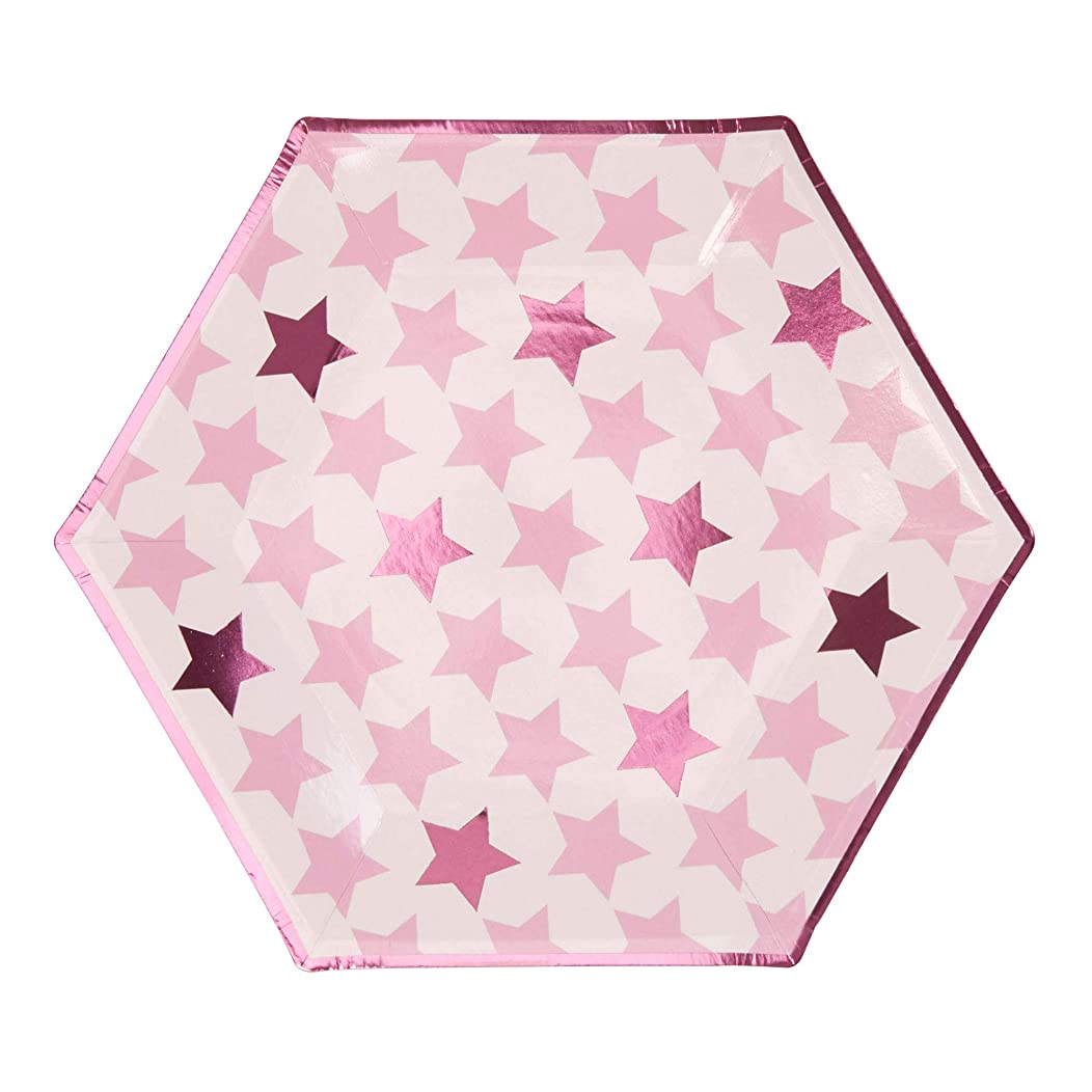 Neviti Little Star Pink - Large Paper Party Plates - 8 Pack