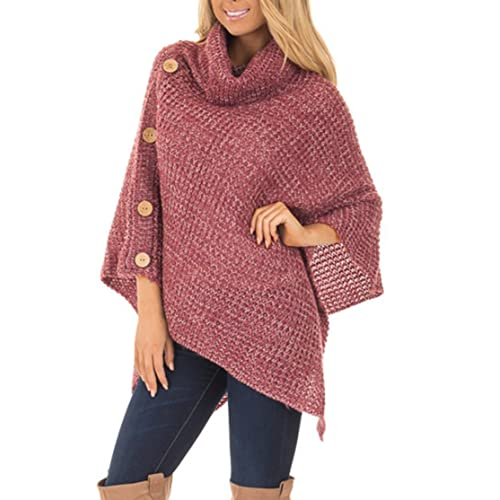 8f31d32b3e21 Amelitory Women's Turtleneck Cable Knit Button Poncho Capes Pullover Sweater