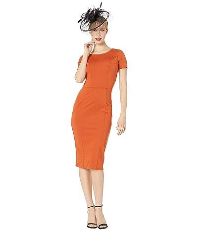 Unique Vintage 1960s Short Sleeve Stretch Mod Wiggle Dress (Cinnamon) Women
