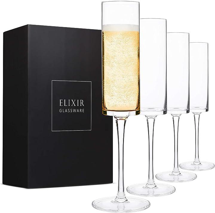 Bicchieri champagne cilindrici (set di 4) - flute spumante in cristallo moderni ed eleganti 180 ml B07CH8J1XQ