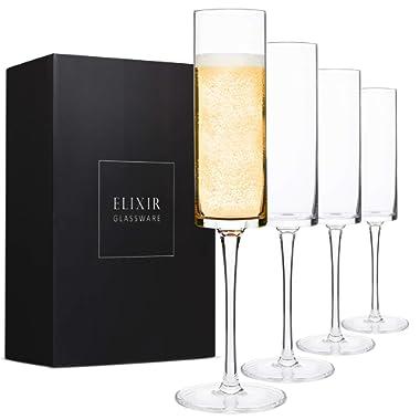Champagne Flutes, Edge Champagne Glass Set of 4 - Modern & Elegant for Women, Men, Wedding, Anniversary, Christmas, Birthday - 6oz, Premium Crystal