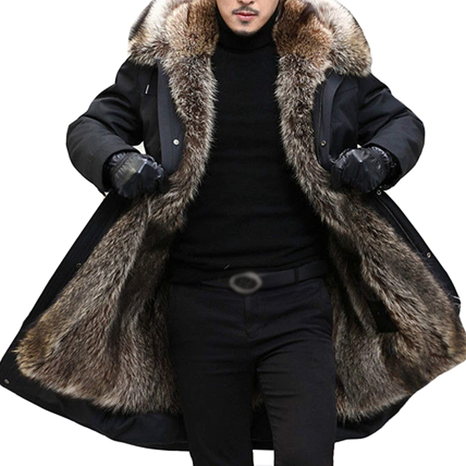 Winter Men'S New sales Some reservation Long Coat With Big Racc Collar Thick Fake Parka Fur