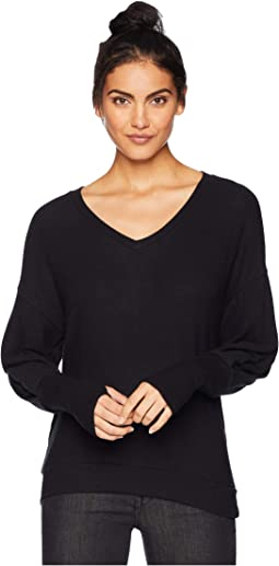 Madison Brushed Puffed Sleeve V-Neck with Thumbholes