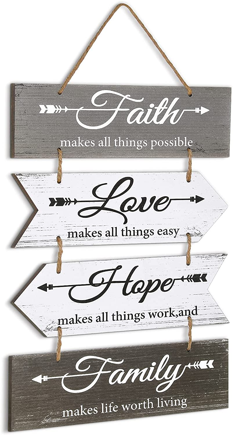 Jetec Hanging Wall Sign Hope Faith Love Family Wood Decor Sign Rustic Arrow Hanging Sign Decoration Farmhouse Inspirational Plaque Sign for Home Living Room Bedroom Indoor Outdoor House Decoration