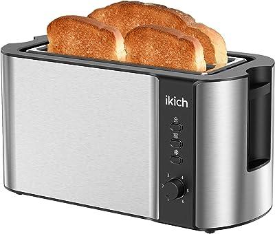 IKICH - Soporte para 2 tostadoras de acero inoxidable, 6 ajustes de sombra de pan, descongelar/recalentar/cancelar, ranuras extra anchas, bandeja de migas extraíble, 1300 W, color plateado