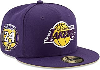 New Era 59Fifty NBA Hat Los Angeles Lakers Kobe Bryant #24 Jersey Dark Purple Cap