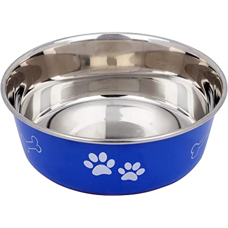 Naaz Premium Dog Bowl (Blue) Export Quality with 100% Silicon Bonded Rubber Base Stainless Bone&Paw Dog Food Bowl Feeder Bowls Pet Bowl for Feeding Dogs Cats and Pets 2100ml