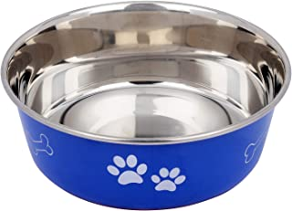 Naaz Premium Dog Bowl (Blue) Export Quality with 100% Silicon Bonded Rubber Base Stainless Bone&Paw Dog Food Bowl Feeder B...