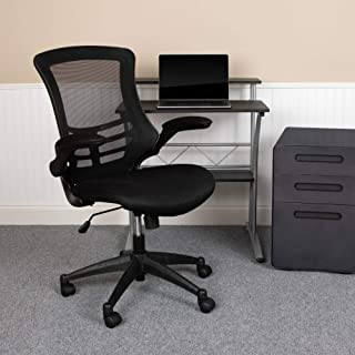 Flash Furniture Mid-Back Black Mesh Swivel Ergonomic Task Office Chair with Flip-Up Arms