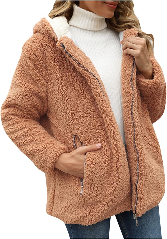 ManxiVoo Women's Warm Winter Hoodies Fleece Jacket Long Sleeve Casual Zip Up Solid Coat Outercoat with Pocket