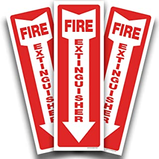 Fire Extinguisher Reflective Sticker Sign for Office & Business – 3 Pack 4x12 – Premium Self-Adhesive Vinyl, Laminated for...
