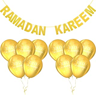 Eid Mubarak Festival Party Decoration Set, Include Ramadan Kareem Banner and 10 Pieces Gold Balloons with Eid Letters for Home Party Decoration