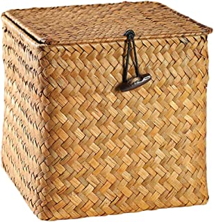 Cabilock Panier de rangement en osier avec couvercle Cubes de rangement en osier carrés Boîte de rangement de thé avec org...