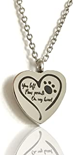 FIKA You Left Paw Prints On My Heart Pet Dog Cat Cremation Ashes Remembrance Urn Pendant Necklace Jewelry Filling Kit Included