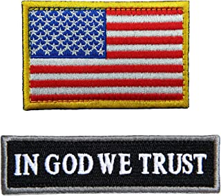2 Pieces Tactical Morale Patch USA Flag Embroidered Patch Hook&Loop Fastener Backing Emblem in GOD WE Trust Tactical Patch