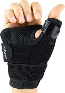 Vive Arthritis Thumb Splint - Thumb Spica Support Brace for Pain, Sprains, Strains, Arthritis, Carpal Tunnel & Trigger Thumb Immobilizer - Wrist Strap - Left or Right Hand (Black)