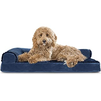 Furhaven Pet Dog Bed - Traditional Orthopedic Sofa-Style L Shaped Chaise Lounge Living Room Couch Calming Pet Bed & Mid Century Modern Dog Bed Frame - Available in Multiple Colors & Styles