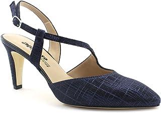 Melluso E1602F Blu Scarpe Donna Decolletè Sandalo Punta Chiusa Cinturino