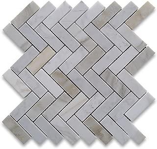 Calacatta Gold Italian Calcutta Marble Herringbone Mosaic Tile 1 x 3 Honed
