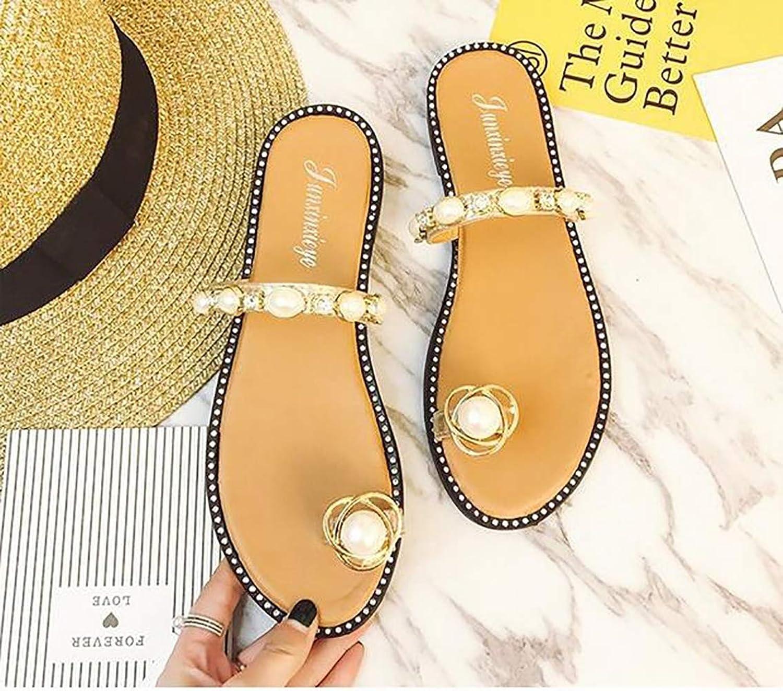 Woman's Fashion The Toe Pearl Sandal Slipper Rhinestone Beach shoes