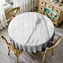 SEMZUXCVO Soft Round Tablecloth Bridal Will not Fade Fairytale Ending of a Love Story Princess Sketchy Bride with Flowers Image D43 Black and White