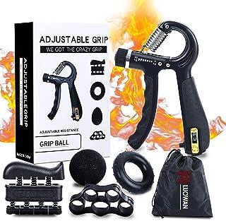 5 Pack Hand Grip Strengthener Trainer Kit - Hand Strengthener & Grip Strength Kit - Forearm Grip Adjustable Resistance - F...