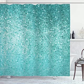 Ambesonne Turquoise Shower Curtain, Small Dot Tiles Shape Simple Classical Creative Design, Cloth Fabric Bathroom Decor Set with Hooks, 75