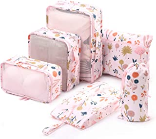 6 Set Packing Cubes-Travel Luggage Organizers with Shoe Bag -Pink Protea