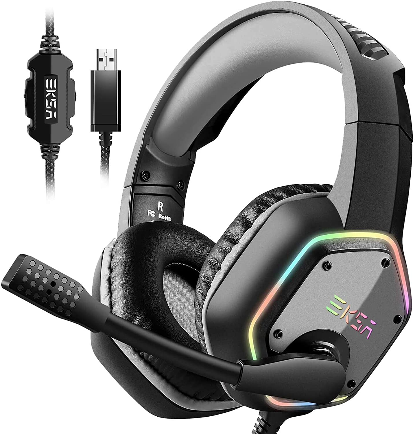 EKSA USB Gaming Headset for PC - Computer Headphones with 7.1 Surround Sound Stereo Noise Canceling Mic/Microphone RGB Light - Gaming Headphones for PS4 Console Laptop