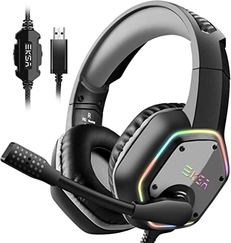 EKSA USB Gaming Headset for PC - Computer Headphones with 7.1 Surround Sound Stereo Noise Canceling Mic/Microphone RG...