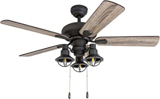 Prominence Home 50758-01 Piercy Coastal Ceiling Fan (3 Speed Remote), 42
