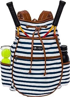LISH Down the Line Canvas Tennis Racket Backpack - Women's Striped Print Drawstring Racquet Holder Bag