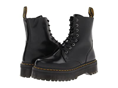Dr. Martens Jadon 8-Eye Boot (Black Polished Smooth) Lace-up Boots