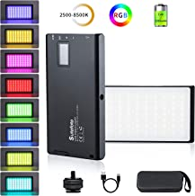 RGB Video Light Led Panel Portable Mini Built-in 7.4V 3300mAh Rechargeable Battery Light 1530°Full Color 2500-8500K with Aerometal Alloy Shell for Camera Photography Youtube Studio Filming Recording