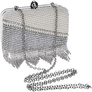 Women's Fashion Tassel Banquet Bag Crystal Evening Dress Pearl Hand/shoulder/slanting Hand Holding Evening Clutch Bag. jszzz (Color : White)