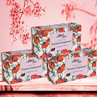 Mirah Belle - Organic Tomato Grapeseed Complexion Soap Bar (Pack of 3-125 GM) - For Skin Brightening and Whitening. Good f...