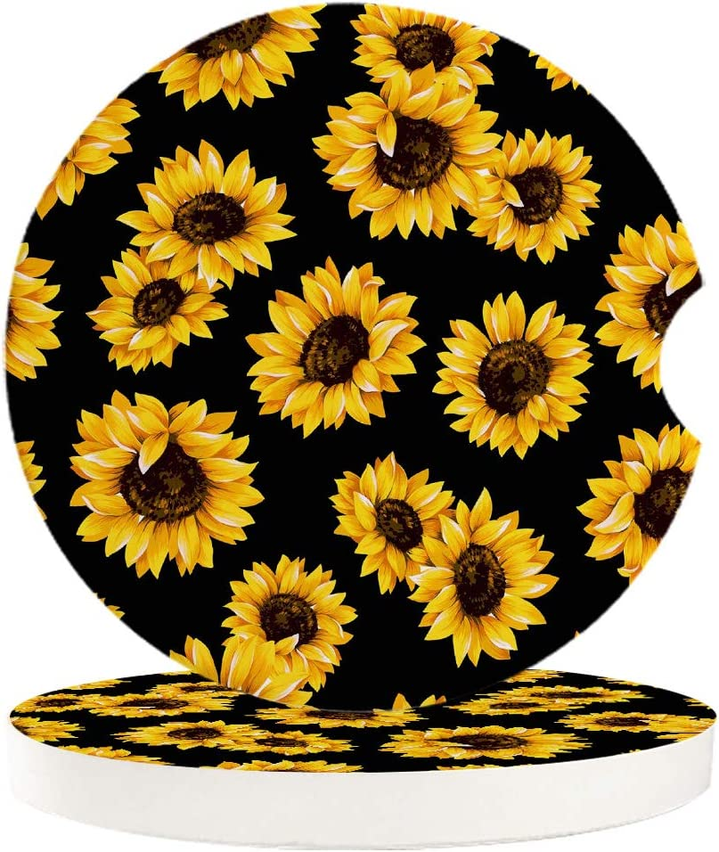 Car Cup Holder Coasters Set Popular brand in the world of Field Sunflowers Yell Large-scale sale Blooming 2