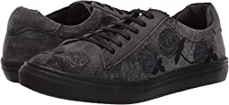 Black Sanded Leather/Rose Embroidered Upper