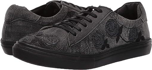 Black Sanded Leather/Rose Embroidered Upper