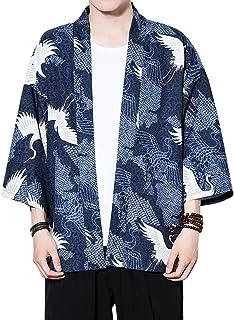 Zhhlaixing Fashion Mens Summer Thin Cloak Open Front Kimono Jacket Youth Casual 3/4 Sleeve Loose Short Coat