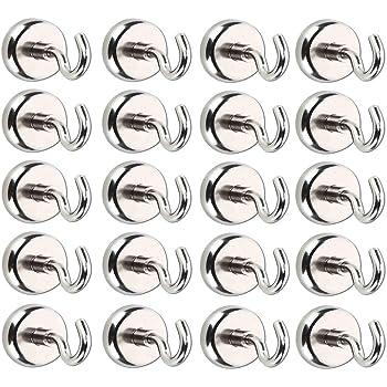 Magnet Haken,Magnete mit Haken Magnethaken,Super Starker Neodym Magnetischer Haken Einsatzbereich K/üche Badezimmer Schlafzimmer Garage Schlie/ßf/ächer B/üro K/ühlschrankmagnet Schl/üsselhalter 20 St/ück