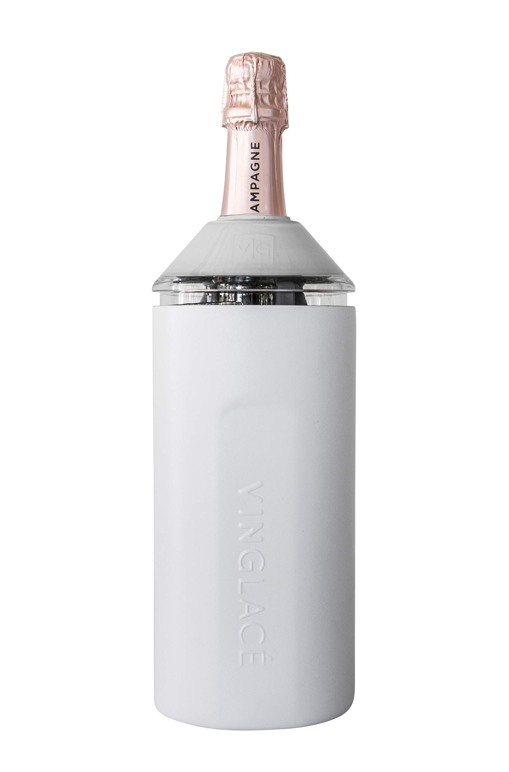 Stainless Steel Tritan Plastic Adjustable Top Vacuum Insulated White Double Walled Vinglac/é Wine Bottle Insulator Keeps Wine /& Champagne Cold for Hours 10 x 11 x 12