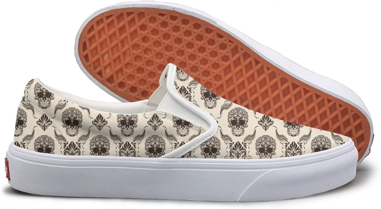 Lalige Brown Skull Women Vintage Canvas Slip-ONS Walking shoes