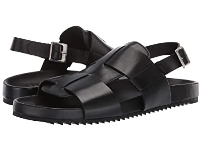 Grenson Wiley Strap Sandal (Black Calf) Men