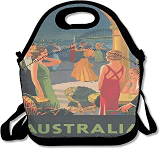 Australia Vintage Travel Poster Romance Dancers Insulated Lunch Bag Custom Bento Box Picnic Cooler Portable Handbag Lunch Tote Bag With Shoulder Adjustable Strap For Women Girl Men Boy