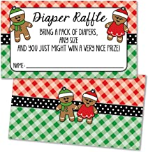 25 Christmas Gingerbread Diaper Raffle Ticket Inserts for Baby Shower Invitations