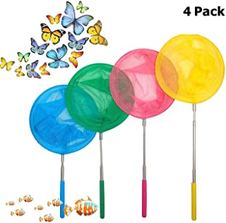 GINXIA 4 Pack Telescopic Butterfly Nets Insects Nets Dragonfly Nets Perfect forCatching Bugs Insect Small Fish Outdoor Toy for Kids Playing