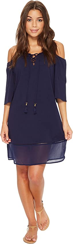 Cotton Modal Cold-Shoulder Dress Cover-Up